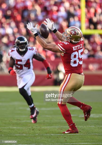 San Francisco 49ers Tight End George Kittle makes a reception during the NFL game between the Atlanta Falcons and San Francisco 49ers at Levi's...