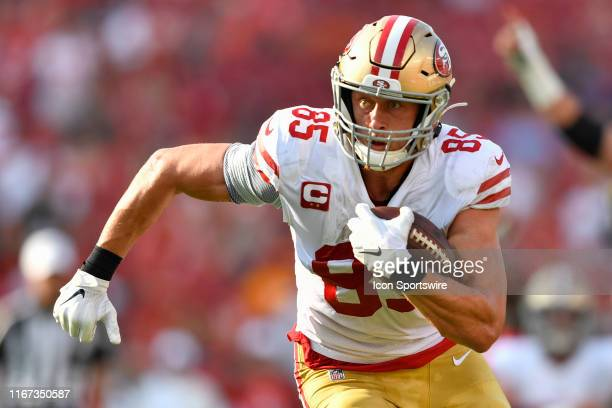 San Francisco 49ers Tight End George Kittle runs in for a touchdown that gets called back during the first half of the season opener between the San...