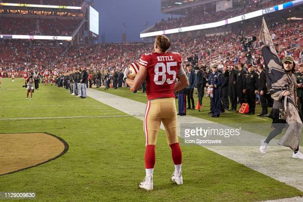 San Francisco 49ers tight end George Kittle stands stong in the endzone during the national anthem prior to the NFL game between the New York Giants...