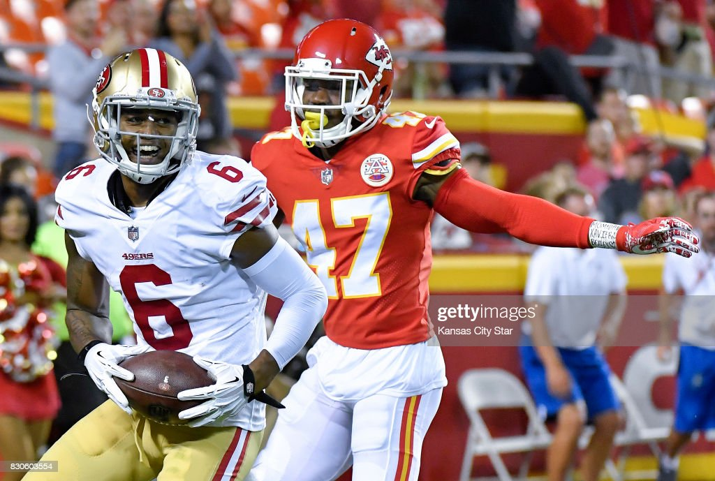 timeless design 4391b b0f13 San Francisco 49ers wide receiver Kendrick Bourne reaches ...