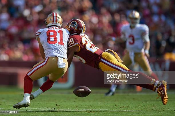 San Francisco 49ers wide receiver Trent Taylor battles with Washington Redskins cornerback Kendall Fuller during a NFL football game between the San...