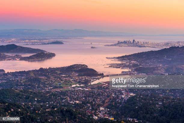 San Francisco and The Bay Area during sunset