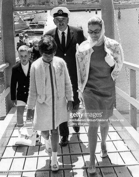 San Francisco August 4 1967 Princess Grace of Monaco toured the Bay on a sightseeing cruise with her Dan London and her children Stephanie and Albert...