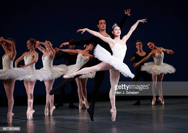 San Francisco Ballet dancers Sofiane Sylve and Vito Mazzeo perform with dancers during Symphony in C at the Segerstrom Center for the Arts in...
