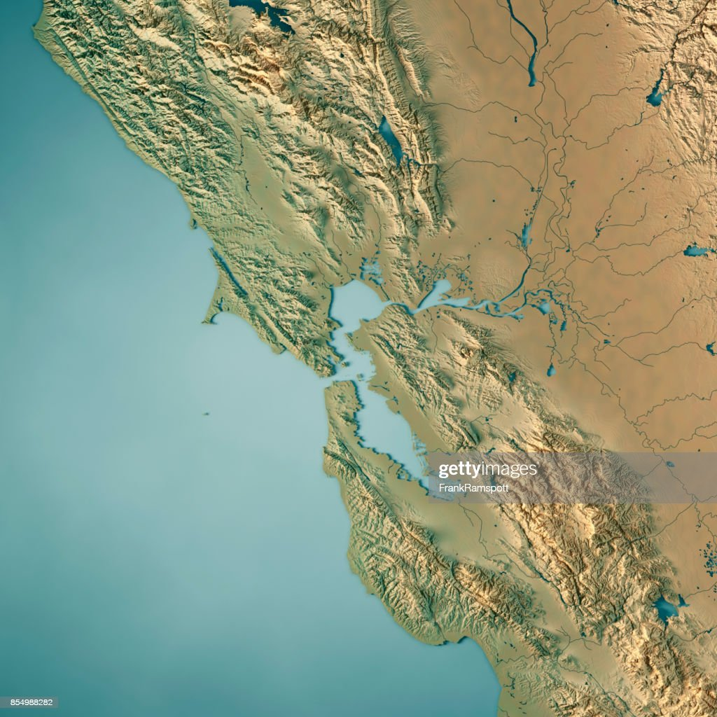 3d Topographic Map Of Usa.San Francisco Bay Area Usa 3d Render Topographic Map Stock Photo