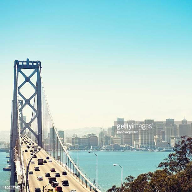 san francisco bay bridge and rush hour traffic - bay bridge stock pictures, royalty-free photos & images