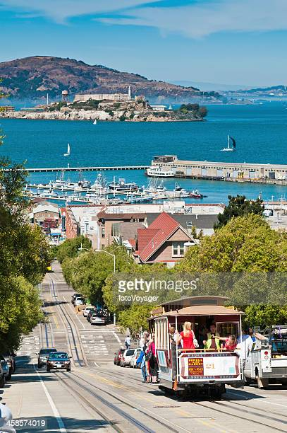 san francisco bay hyde street cable car alcatraz california usa - fishermans wharf stock pictures, royalty-free photos & images