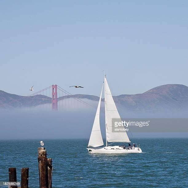 San Francisco Bay: Sailboat, Golden Gate Bridge, Fog