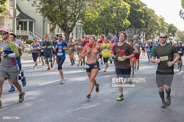 san francisco bay to breakers 2016 event - women dressed undressed stock pictures, royalty-free photos & images