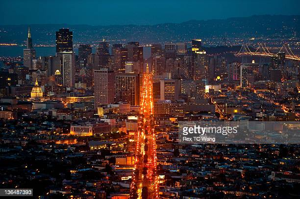 san francisco bei nacht - nacht stock pictures, royalty-free photos & images