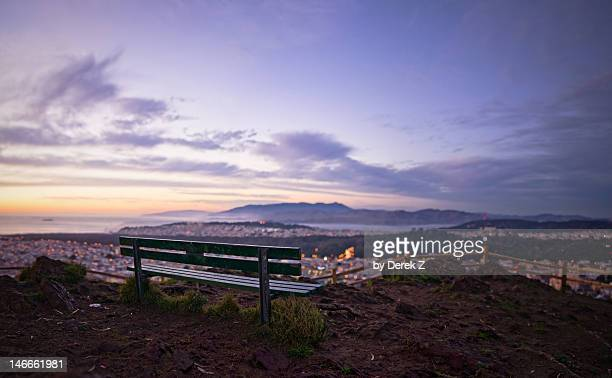 San Francisco bench at sunset overlooking the bay