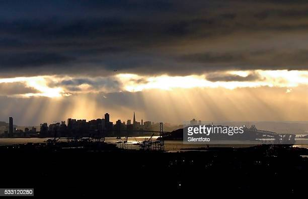San Francisco Beneath a Brooding Sky with Crepuscular Rays