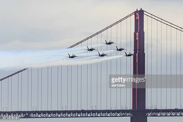 san francisco: blue angels and golden gate bridge - blue angels stock pictures, royalty-free photos & images