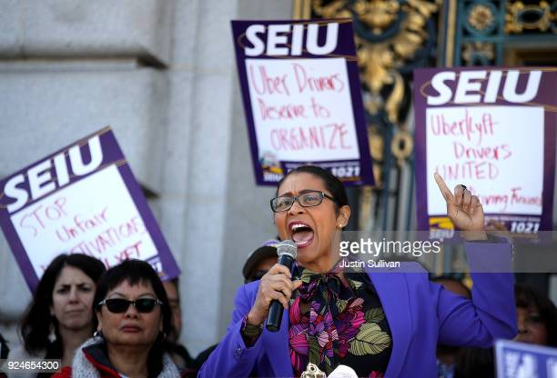 San Francisco Board of Supervisors President London Breed speaks to union members during a rally outside of San Francisco City Hall on February 26...