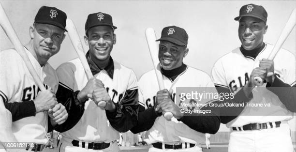 San Francisco CA Circa 1965 Giants teammates Harvey Kuenn Orlando Cepeda Willie Mays and Willie McCovey #13#13Published April 7 1965