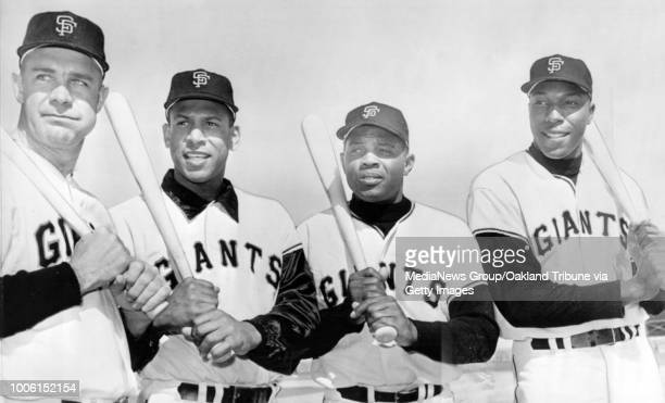 San Francisco CA Circa 1965 Giants teammates Harvey Kuenn Orlando Cepeda Willie Mays and Willie McCovey #13#13Published April 7 1965#13