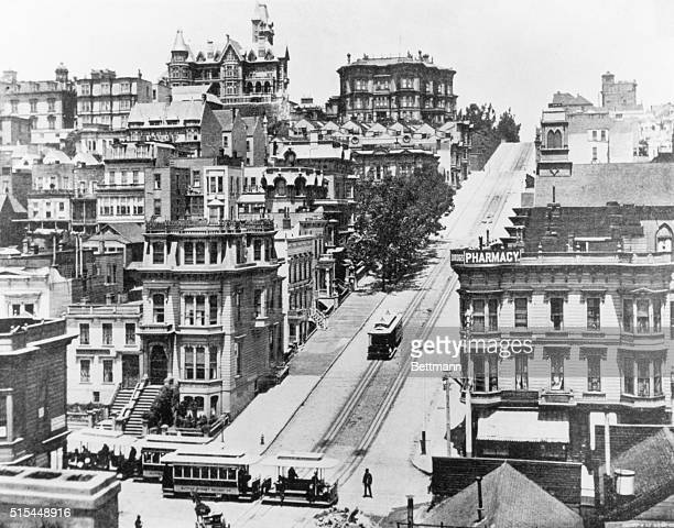 Nob Hill from Sutter St north up Powell St to California St Undated photograph