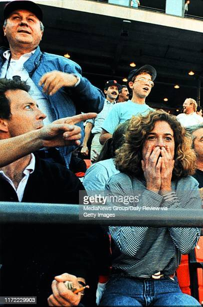 San Francisco, CA October 17, 1989: Emotions ran from fear to shocked astonishment moments after the earthquake at Candlestick Park during game three...