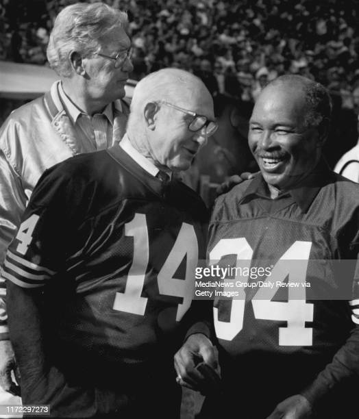 San Francisco, CA Undated - NFL Hall of Famers Bob St. Clair, Y. A. Tittle, and Joe Perry reunited at a San Francisco 49ers game.