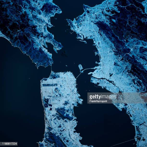 san francisco california 3d render blue top view apr 2019 - san francisco bay area stock pictures, royalty-free photos & images