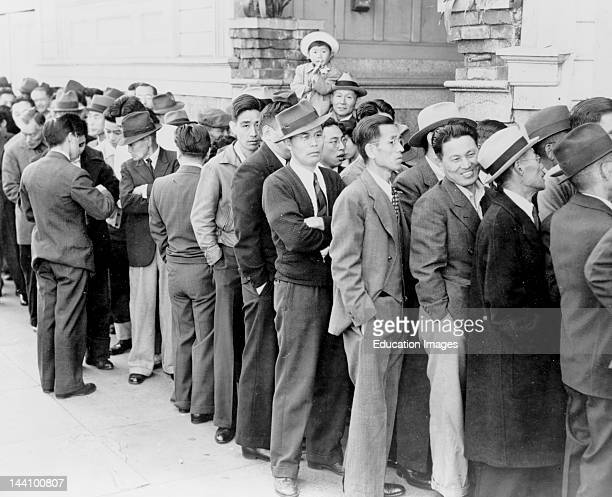 San Francisco California April Residents Of Japanese Ancestry Appearing At The Civil Control Station For Registration In Response To The Army'S...