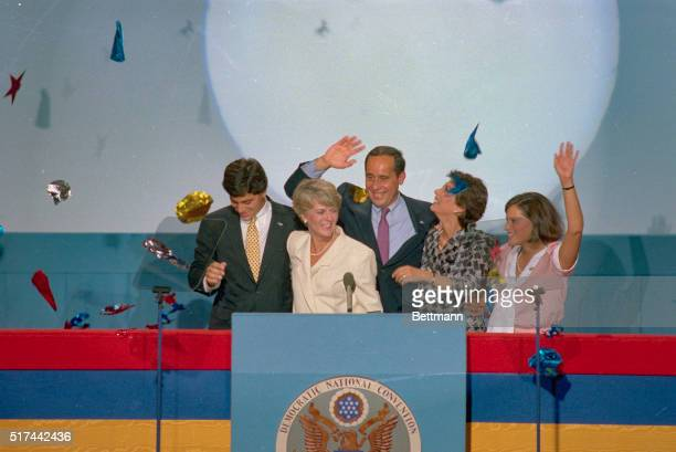 San Francisco California At the end of the Democratic National Convention Colorado Senator Gary Hart shakes the hand of the children of Geraldine...