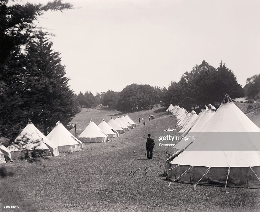 Tents After San Francisco Earthquake  News Photo & Earthquake of 1906. Circular tents from the barracks for refugees in ...