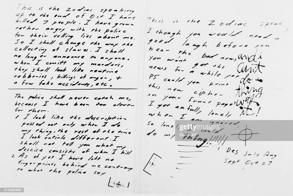 Handwritten Note from Zodiac Killer : News Photo