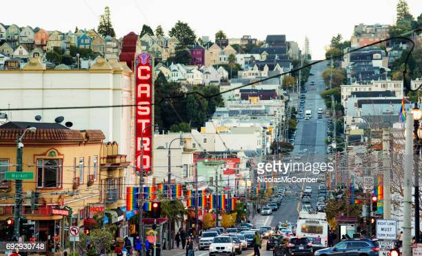 san francisco castro street gay district city scene late winter afternoon - castro district stock pictures, royalty-free photos & images