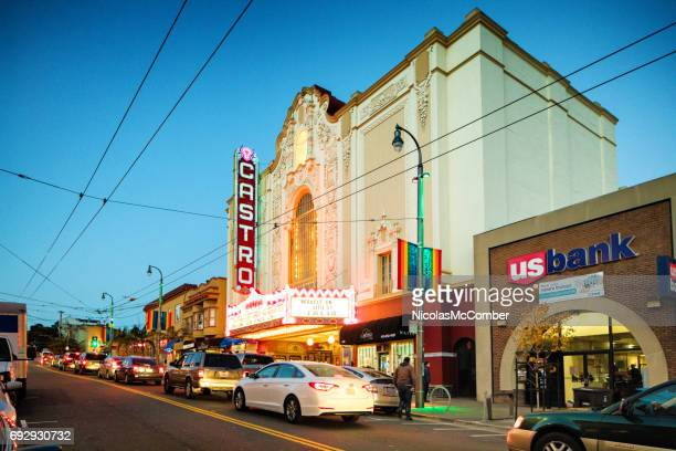 san francisco castro theater gay district city scene at twilight - castro district stock pictures, royalty-free photos & images