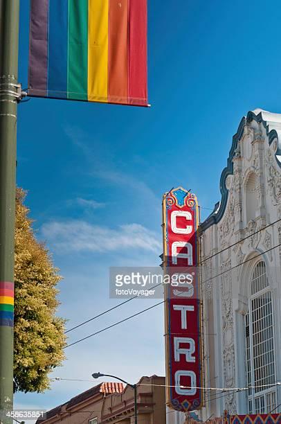 San Francisco Castro Theater Gay Pride Flag blue sky California