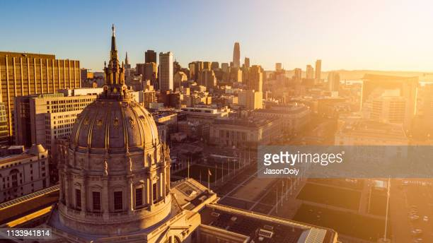 san francisco city hall at dawn - town hall stock pictures, royalty-free photos & images