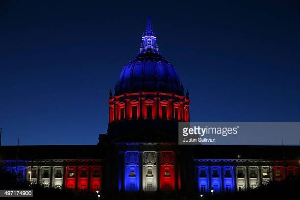 San Francisco City Hall is lit up with the colors of the French flag following the terror attacks in Paris on November 14 2015 in San Francisco...