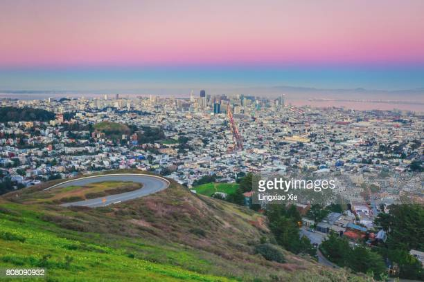 San Francisco city skyline from Twin Peaks during sunset