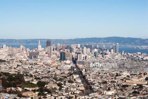 san francisco city view from twin peaks - lyn holly coorg stock pictures, royalty-free photos & images