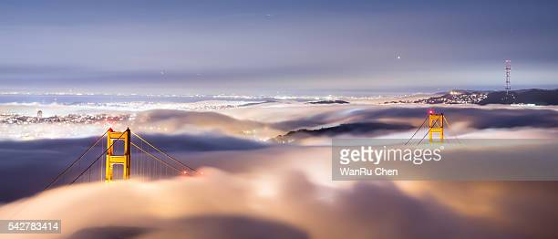 San Francisco city view,Golden Gate Bridge in fog