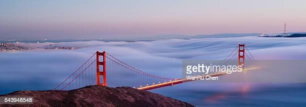 San Francisco city view,Golden Gate Bridge in fog