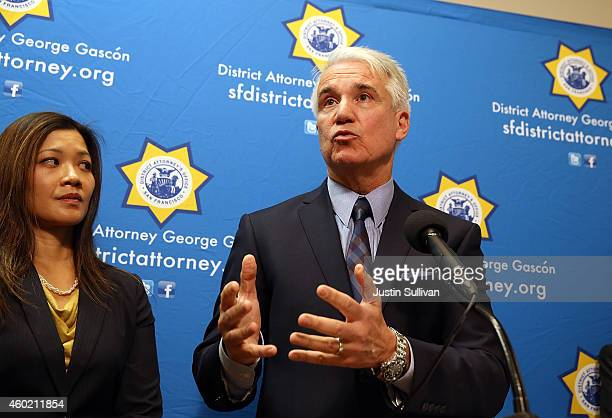 San Francisco district attorney George Gascon speaks during a new conference to announce a civil consumer protection action against rideshare company...