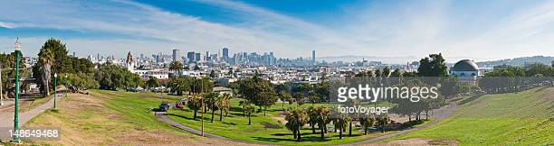 San Francisco Dolores Park tranquil morn downtown skyline panorama California