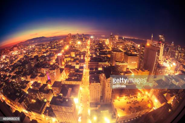 San Francisco Downtown Aerial View at Dusk, California