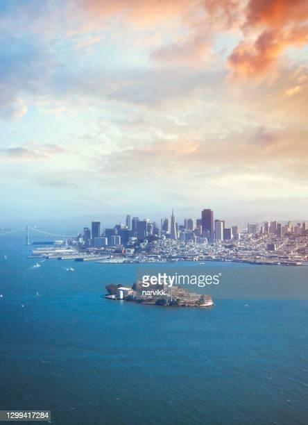 san francisco downtown and alcatraz prison - north beach san francisco stock pictures, royalty-free photos & images