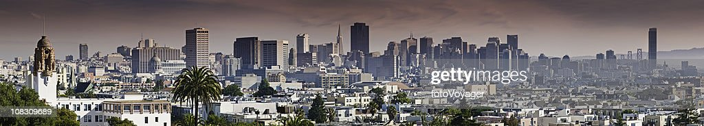 San Francisco downtown city skyline from Dolores Park panorama California : Stock Photo