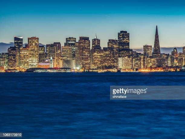 San Francisco downtown cityscape at night