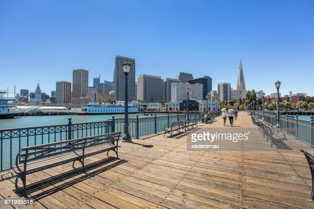 san francisco downtown from pier 7 - water's edge stock pictures, royalty-free photos & images