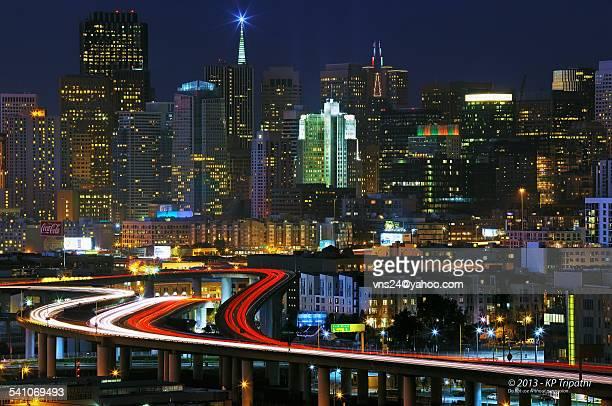 San Francisco downtown holiday lights
