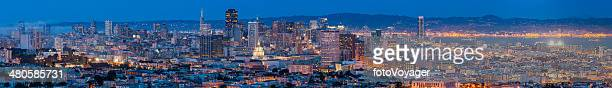 San Francisco downtown panoramic cityscape illuminated at dusk California USA