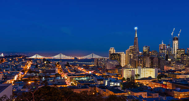 san francisco downtown skyline at chrismas night - san francisco in america stock pictures, royalty-free photos & images