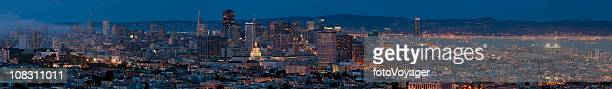 San Francisco downtown skyline cityscape night illuminated panorma California