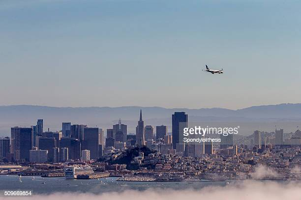 san francisco downtown with low fog, california - treasure island san francisco stock pictures, royalty-free photos & images