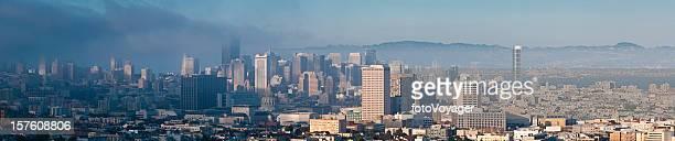 San Francisco dramatic summer fog downtown cityscape panorama California